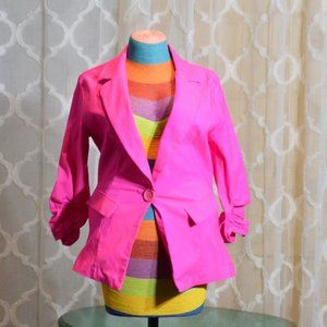 Pink Stretchy Blazer Jacket  3/4 Sleeve